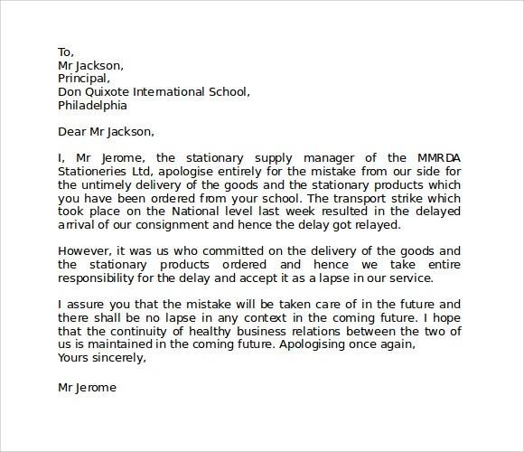 Doc#580550 Letter of Apology to Your Boss u2013 Nice Apology Letter - letter of apology to your boss