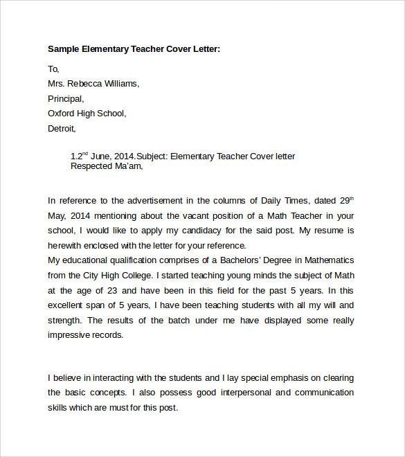 Sample Elementary Education Cover Letter cover letter for - example resume teacher