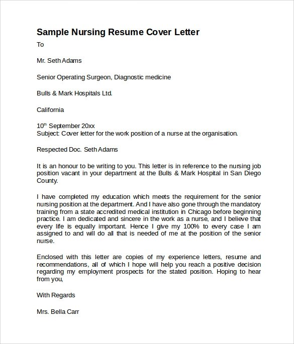 Sample Nursing Cover Letter Template - 8+ Download Free Documents In