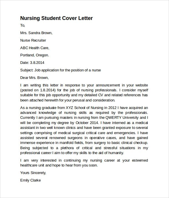 Kentucky Board Of Nursing Sample Nursing Cover Letter Template 8 Download Free