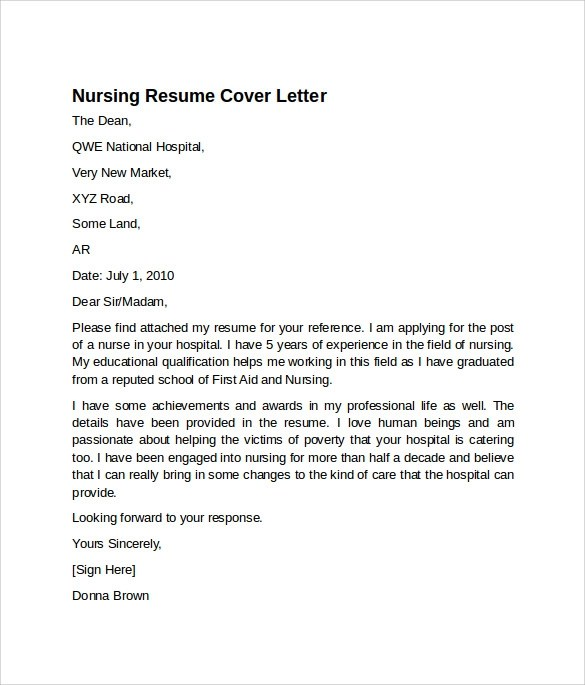 8 Nursing Cover Letter Templates to Download Sample Templates - Missionary Nurse Sample Resume
