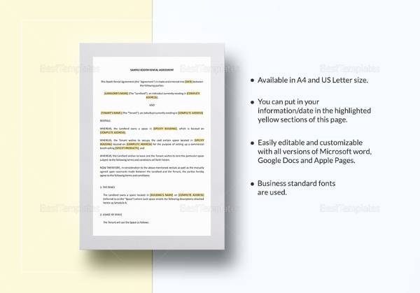 Sample Booth Rental Agreement - 13+ Documents in PDF
