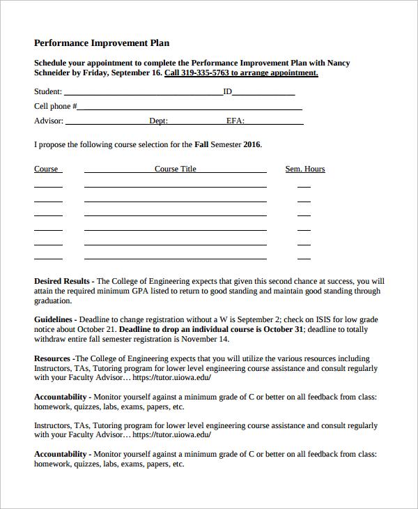 Sample Improvement Plan Template - 8+ Free Documents Download In - improvement plan template