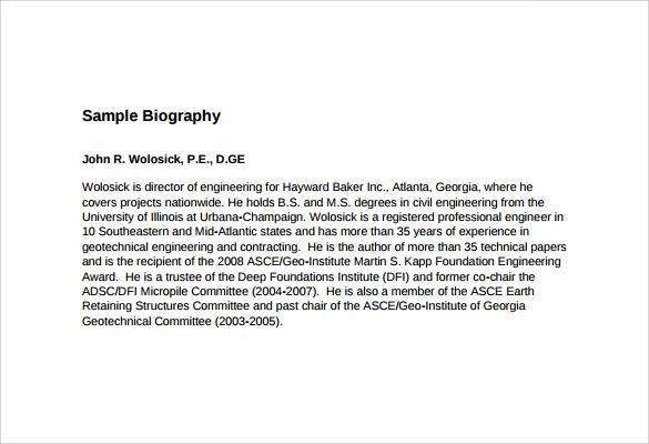 7+ Biography Samples Sample Templates - biography example