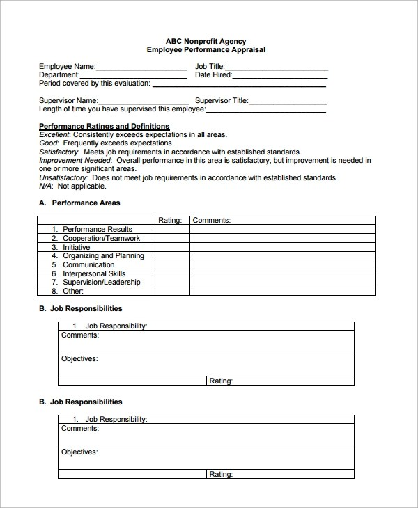 Sample Employee Performance Review Template - 8+ Free Documents - employee review form