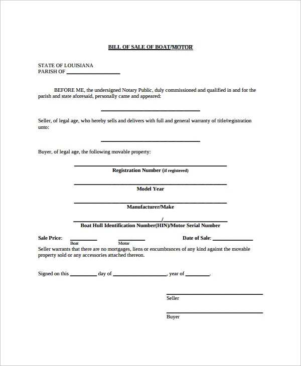 Sample Equipment Bill of Sale Template - 8+ Free Documents - sample boat bill of sale