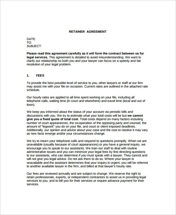 Sample Retainer Agreement Template Free Sample Consultant - consulting retainer agreement