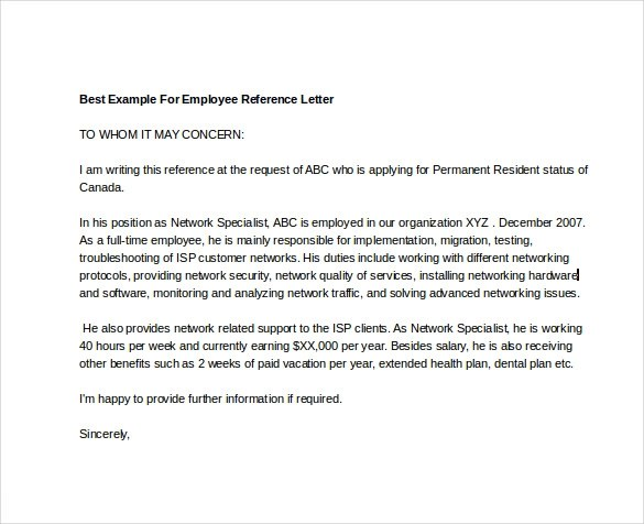 Example Cover Letter With Employee Reference 12 Employee Reference - letter of reference for employee
