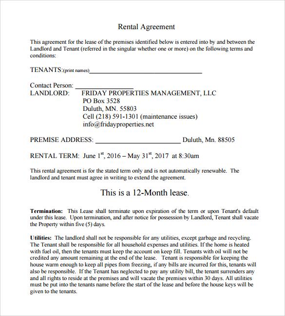 Doc#403525 Sample Printable Lease Agreement Example u2013 17 Best - printable lease agreement sample