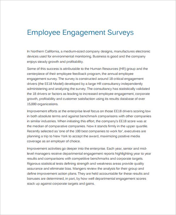 Employment Engagement Survey Template Medium Scale Business - survey cover letter