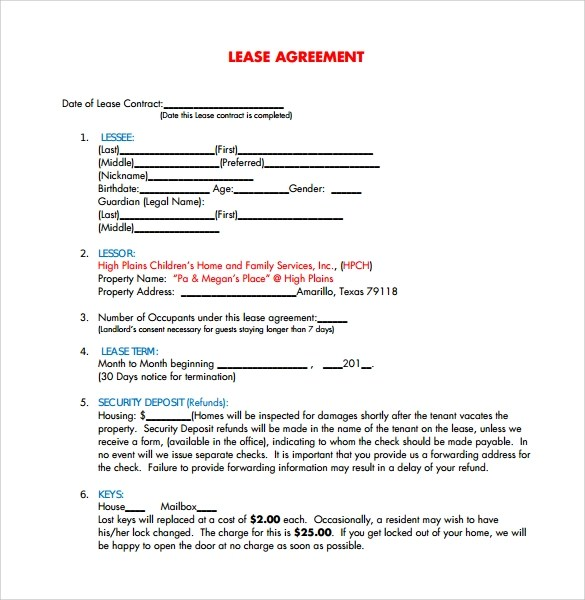Free Lease Agreement Templates - 8+ Download Free Documents in PDF - free property lease agreement