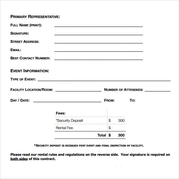 8 Blank Rental Agreements \u2013 Samples, Examples  Formats Sample