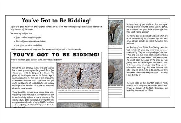 newspaper report template
