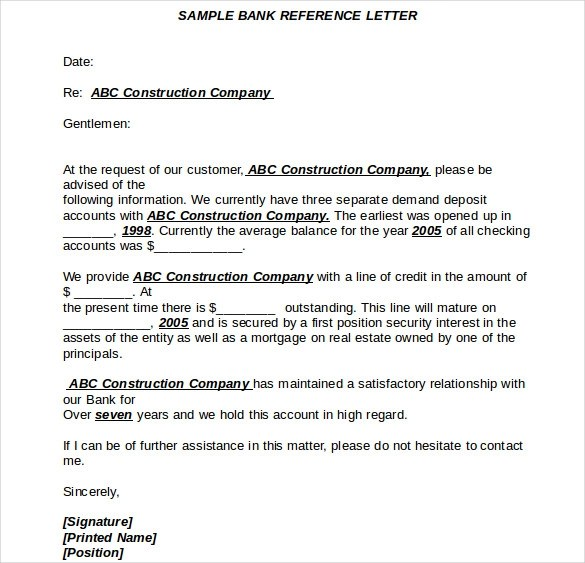 Bank Reference Letter In Italian – Bank Reference Letter Sample