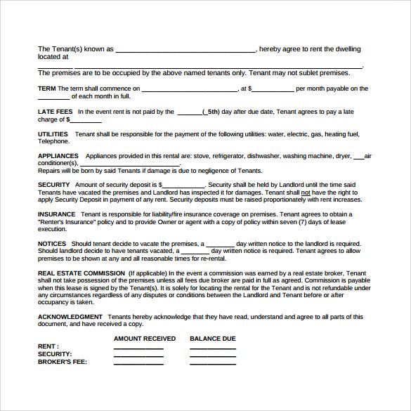 7+ Sample Blank Lease Agreements Sample Templates - blank lease agreement example