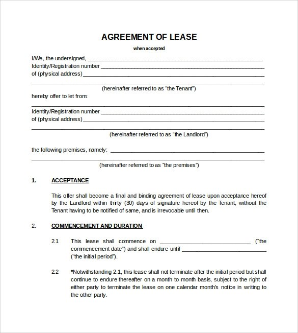 Blank Lease Agreements Free Lease Agreement Blank Lease Agreement