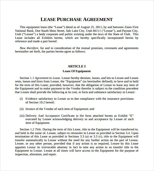 10+ Lease Purchase Agreements Sample Templates - Lease Purchase Agreement