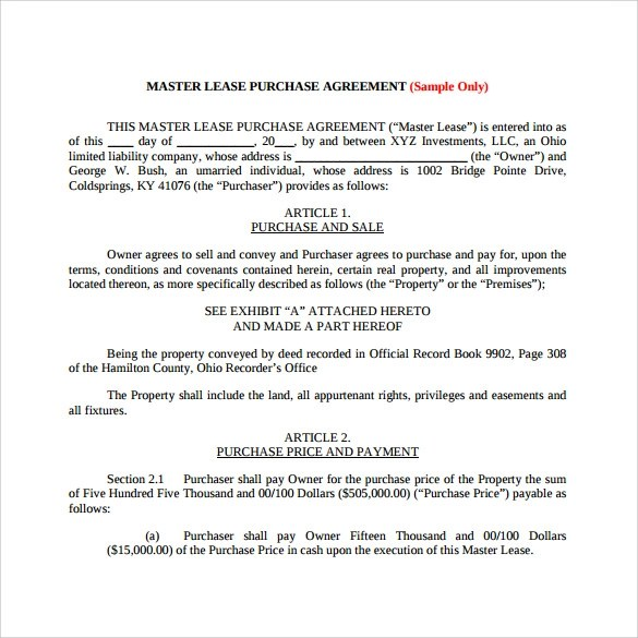 Sample Lease Purchase Agreement \u2013 10+ Free Documents Download in
