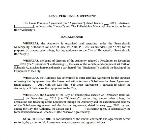 Doc728982 Lease Purchase Agreement Template The Residential – Printable Purchase Agreement