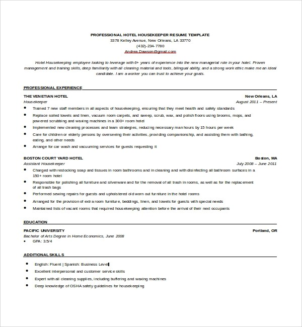 12+ Sample Housekeeping Resumes Sample Templates - house keeper resume