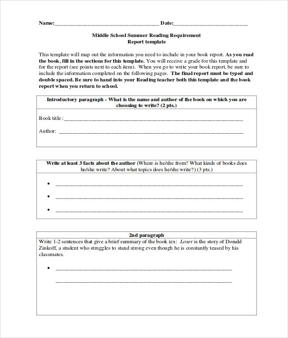 8+ Sample Middle School Book Reports Sample Templates
