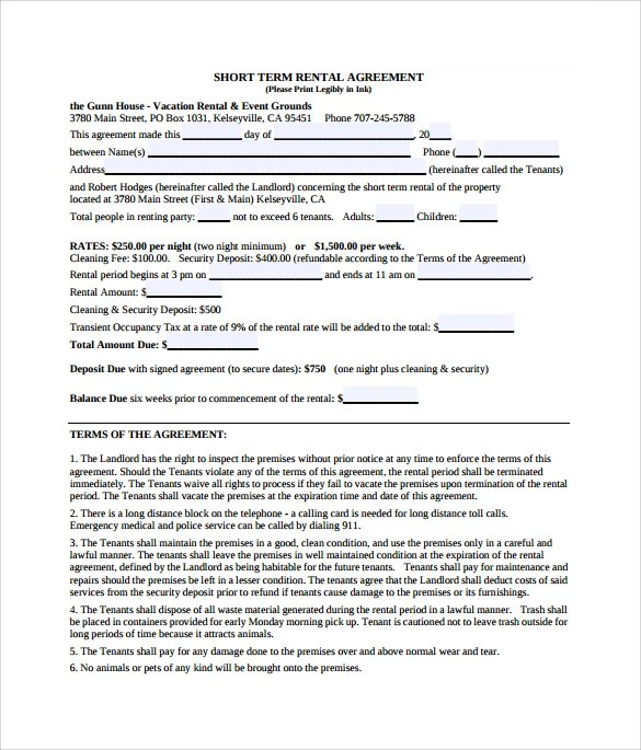 9+ Sample Vacation Rental Agreements Sample Templates - sample short term rental agreement