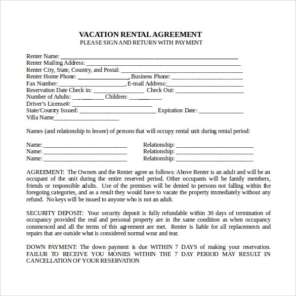 Vacation Property Rental Agreement Template  Example Of