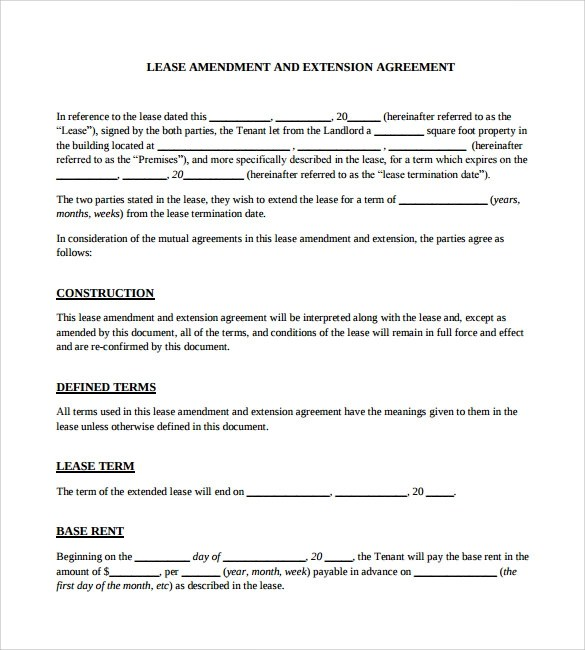 11+ Lease Extension Agreements - Free Sample, Example, Format