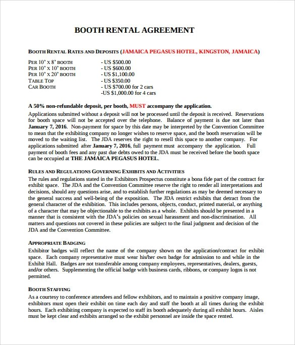 Booth Rental Agreement - 6+ Free Documents Download in PDF, Word - booth rental agreement