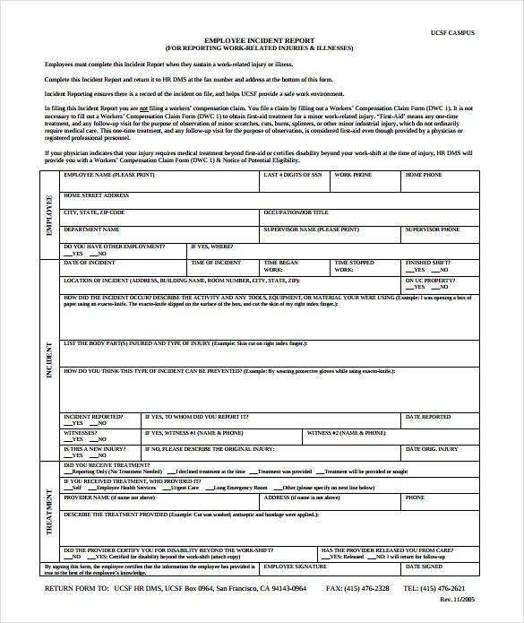 workers compensation employee incident report form - Vatoz - Accident Report Template