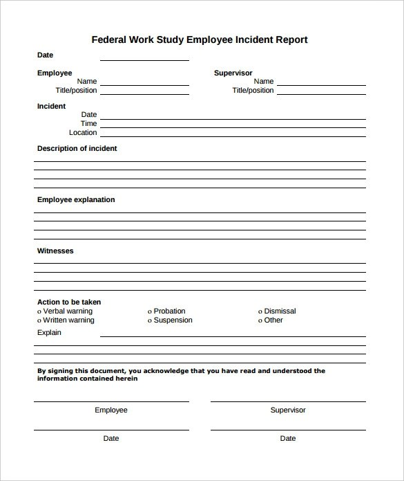 15+ Employee Incident Report Templates \u2013 PDF, Word, Pages Sample - Accident Report Template