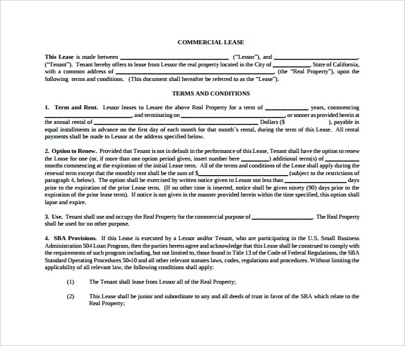 10+ Sample Commercial Lease Agreements Sample Templates - commercial lease agreement sample