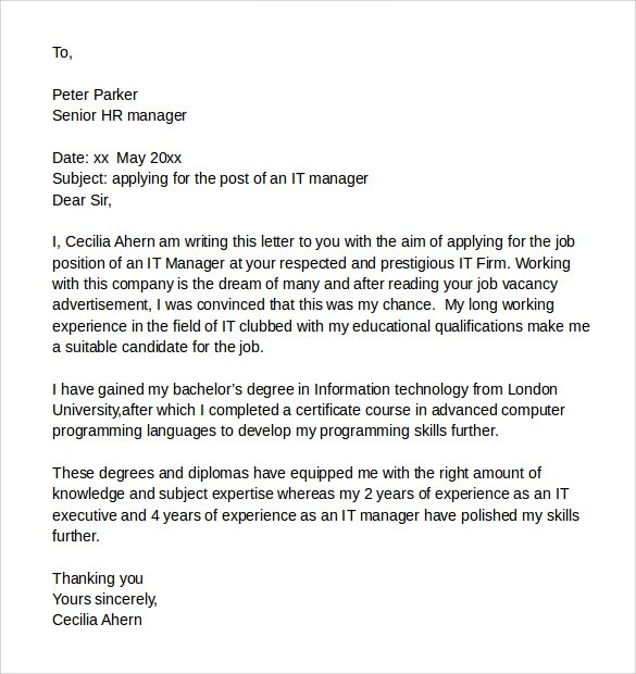 8 Sample It Cover Letter Samples , Examples  Format Sample Templates - It Cover Letters