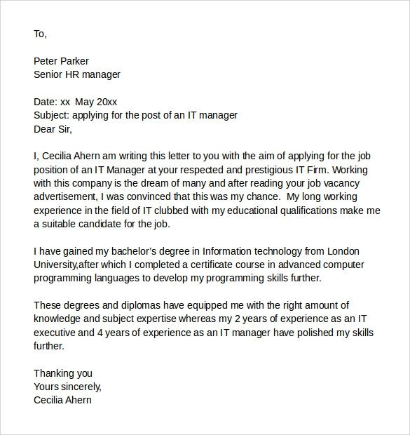 proposal cover letter examples