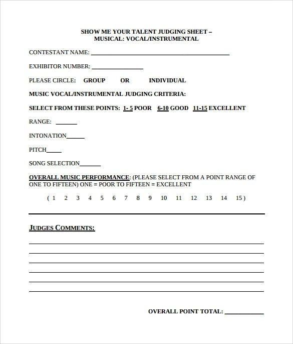 Best Sample Talent Show Score Sheet Contemporary  Best Resume