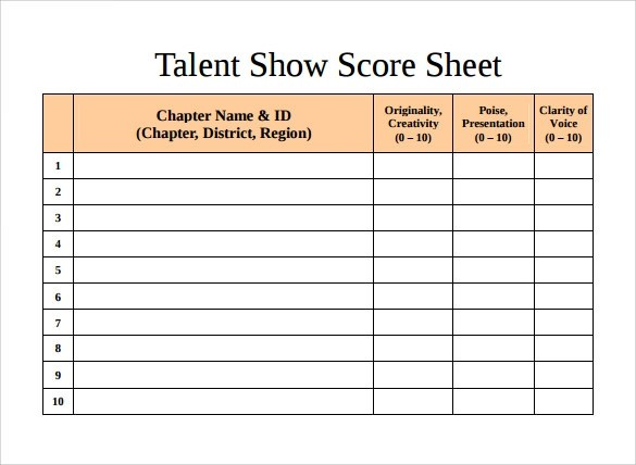 10+ Talent Show Score Sheet Samples Sample Templates