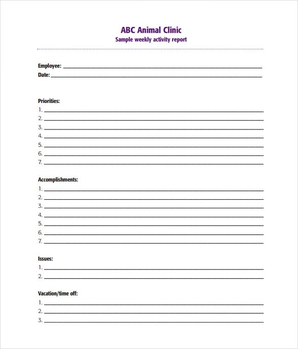 Weekly Progress Report Template | Letterhead Template In Word 2010