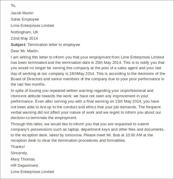 free employee termination letter templates - Employee Separation Letter