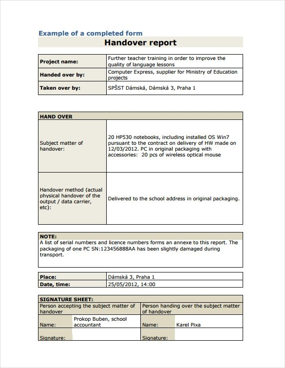 9+ Sample Handover Reports Sample Templates