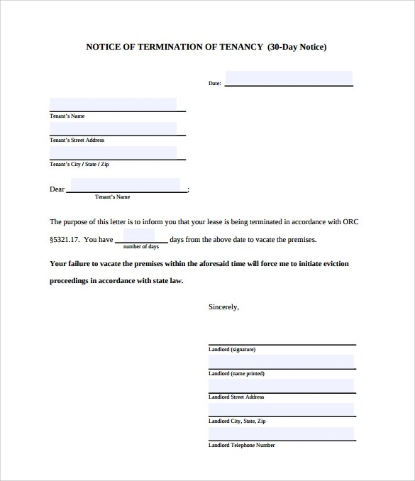 8 Sample 30 Day Notice Letter Templates Download for Free Sample - 30 day notice letter