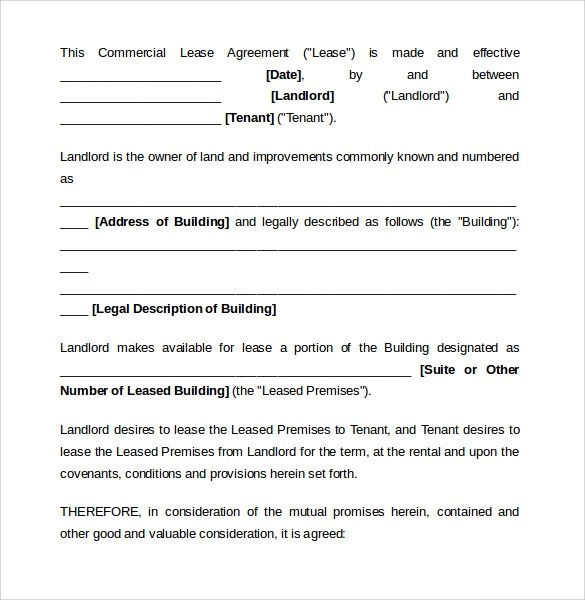 6+ Sample Commercial Lease Agreements Sample Templates