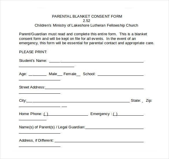 Medical Consent Form 2+ Parent Consent Form Writable Calendar - free medical form