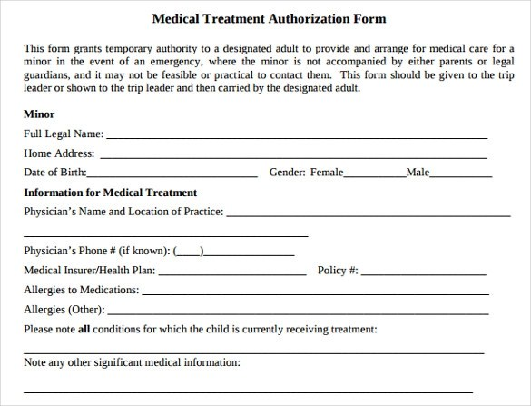 medical treatment authorization forms - Minimfagency - sample child medical consent form