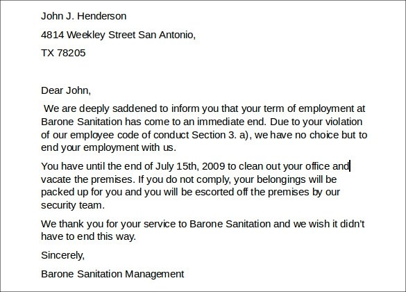 8 Job Termination Letters to Download for Free Sample Templates - job termination letters