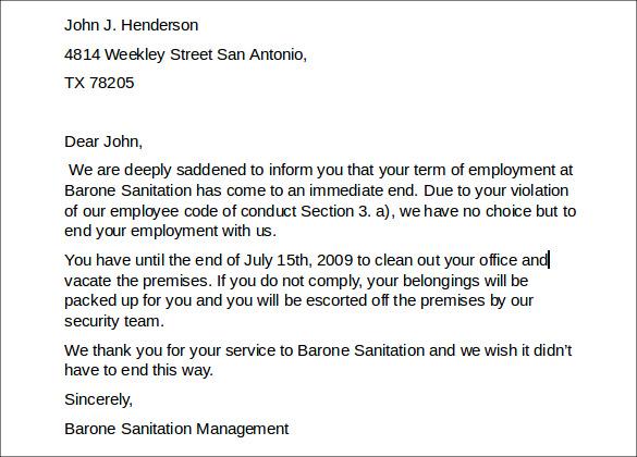 Employee Termination Letter Sample Doc – Employee Separation Letter