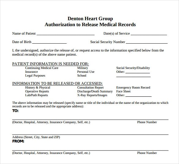generic medical record release form - Baskanidai