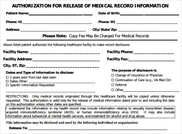 Medical Record Form Template Templatebillybullock – Sample Generic Medical Record Release Form