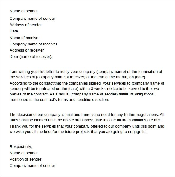 Writing service cancellation letter