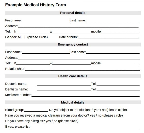 Medical Forms Pdf Download Example For Medical History Form   Blank Medical  Forms