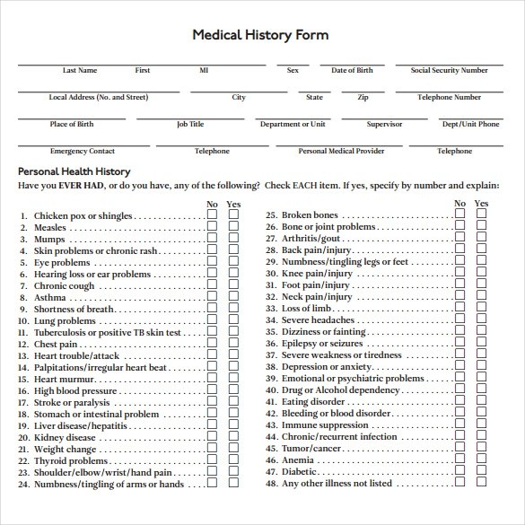 ... Medical History Form Click View On The Desired Medical History   Blank Medical  Forms ...